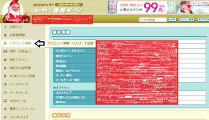 ロリポップのアカウント情報画面