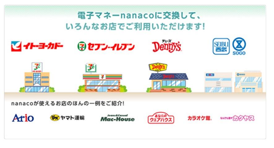 nanacoが使える場所