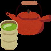 食後には緑茶を