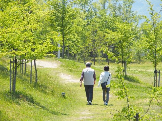 散歩する老夫婦